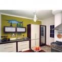 Cucina in ciliegio tinto noce ed avorio con top in acciaio inox