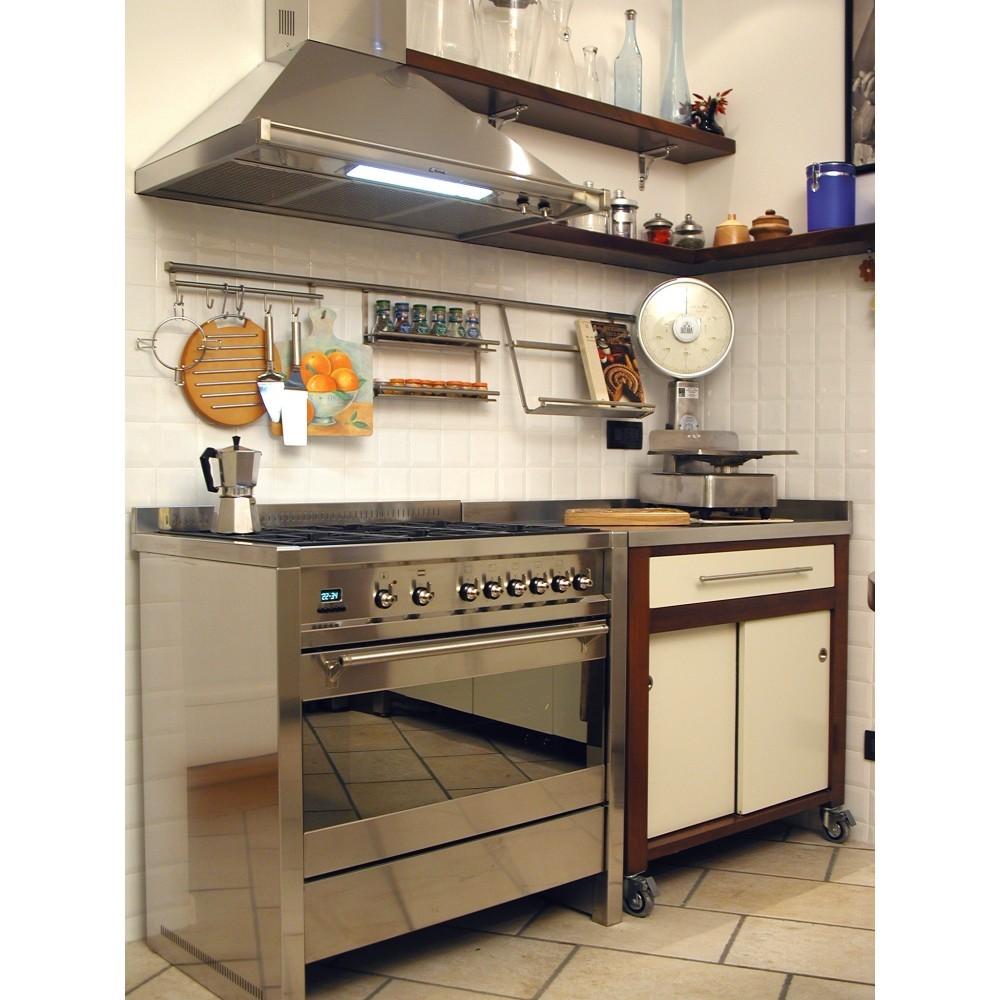 Cucine su misura cucina in ciliegio tinto noce ed avorio con top - Top cucina acciaio inox prezzo ...