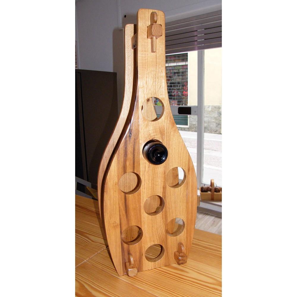 Oggetti design portabottiglie in legno di quercia antica - Oggetti di design in legno ...